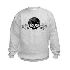 Skull With Flower Motif Kids Sweatshirt