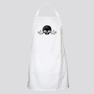 Skull With Flower Motif Apron