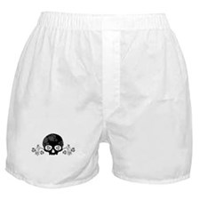 Skull With Flower Motif Boxer Shorts