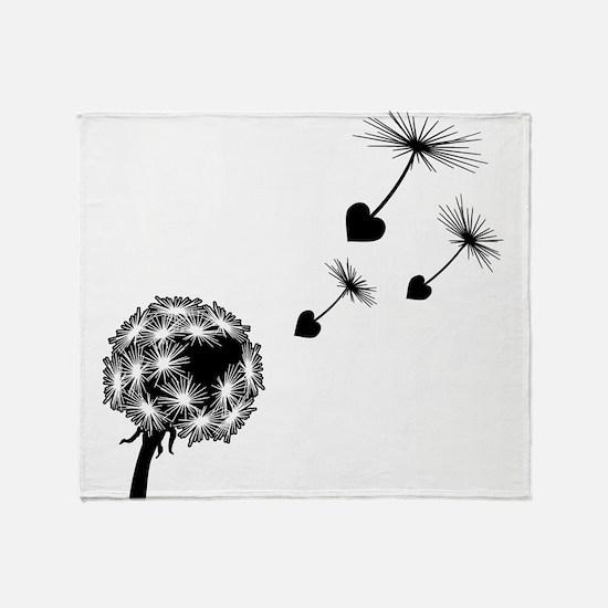Dandelion Heart Seeds Throw Blanket