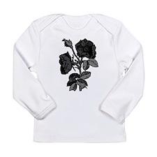 Gothic Black Roses Long Sleeve Infant T-Shirt