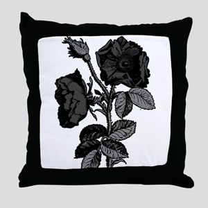 Gothic Black Roses Throw Pillow