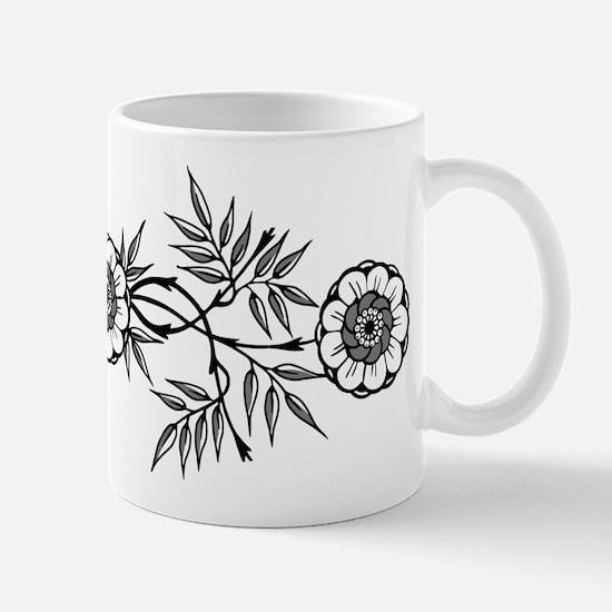 Black And White Flowers Motif Mug