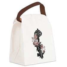 Gothic Key And Roses Canvas Lunch Bag