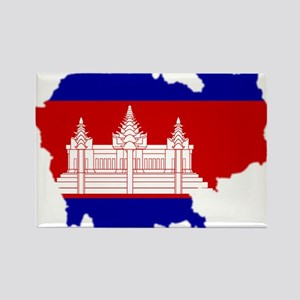 Cambodia Map Flag Rectangle Magnet
