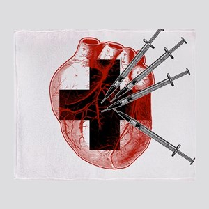 Medical Needle Stabbed Heart Throw Blanket