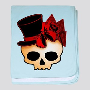 Cute Gothic Skull In Top Hat baby blanket