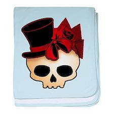 Cute Gothic Skull In Top Hat baby blanket