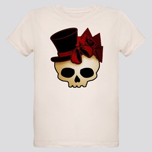 Cute Gothic Skull In Top Hat Organic Kids T-Shirt