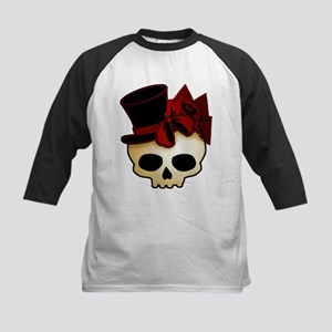 Cute Gothic Skull In Top Hat Kids Baseball Jersey