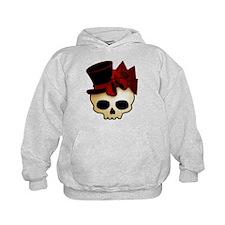 Cute Gothic Skull In Top Hat Kids Hoodie