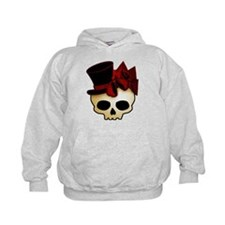 Cute Gothic Skull In Top Hat Kids Hoodie