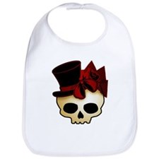 Cute Gothic Skull In Top Hat Bib