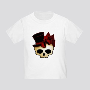 Cute Gothic Skull In Top Hat Toddler T-Shirt