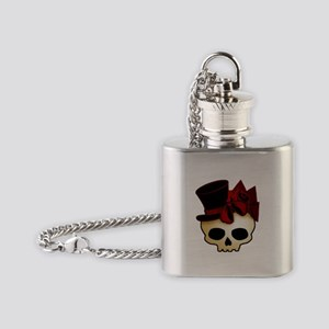 Cute Gothic Skull In Top Hat Flask Necklace