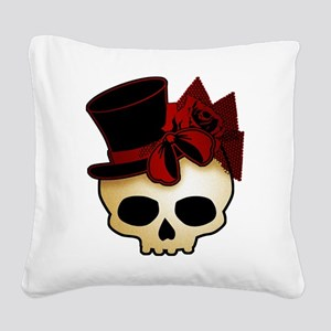 Cute Gothic Skull In Top Hat Square Canvas Pillow