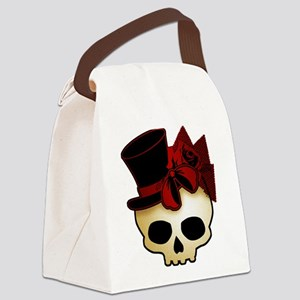 Cute Gothic Skull In Top Hat Canvas Lunch Bag
