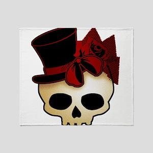 Cute Gothic Skull In Top Hat Throw Blanket