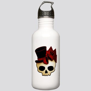 Cute Gothic Skull In Top Hat Stainless Water Bottl