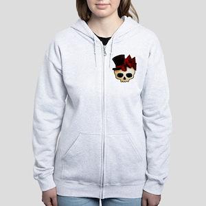 Cute Gothic Skull In Top Hat Women's Zip Hoodie