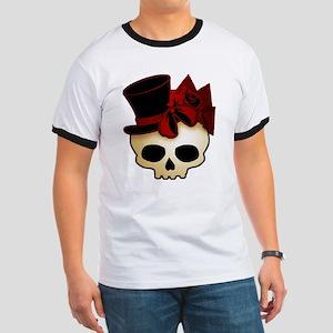 Cute Gothic Skull In Top Hat Ringer T
