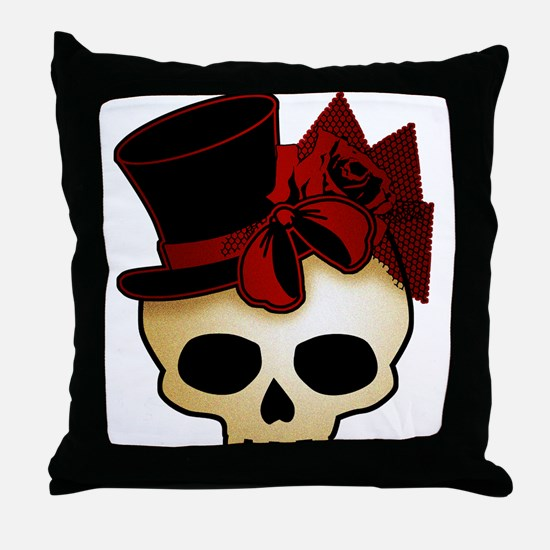 Cute Gothic Skull In Top Hat Throw Pillow