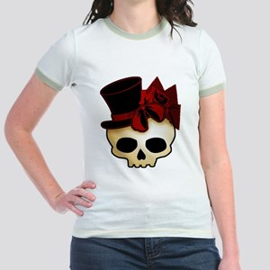 Cute Gothic Skull In Top Hat Jr. Ringer T-Shirt