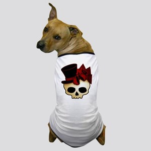 Cute Gothic Skull In Top Hat Dog T-Shirt