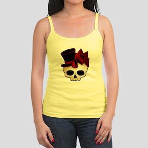 Cute Gothic Skull In Top Hat Jr. Spaghetti Tank