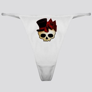 Cute Gothic Skull In Top Hat Classic Thong