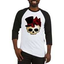 Cute Gothic Skull In Top Hat Baseball Jersey