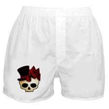 Cute Gothic Skull In Top Hat Boxer Shorts