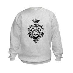 Gothic Skull Crest Kids Sweatshirt