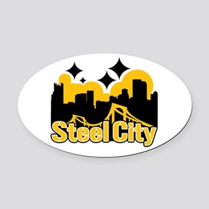 Steel City Oval Car Magnet