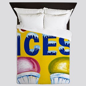 Old Signs: Ices! Queen Duvet