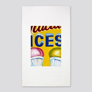 Old Signs: Ices! 3'x5' Area Rug