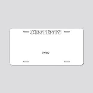 Contents Twins Aluminum License Plate
