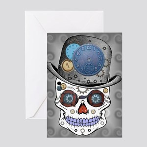 Mr. Steampunk Sugar Skull Greeting Card