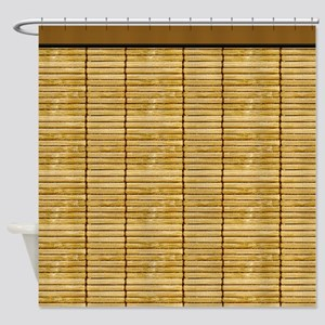 Tan Wooden Slat Blinds Shower Curtain