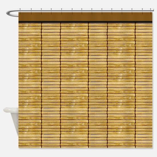 Tan Wooden Slat Blinds Shower Curtain