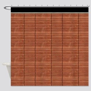 Rust Brown Wooden Slat Blinds Shower Curtain