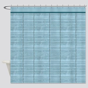 Light Blue Wooden Slat Blinds Shower Curtain
