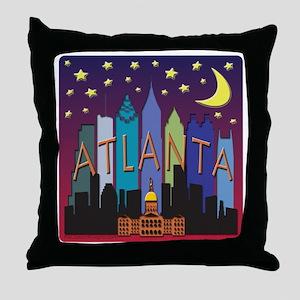 Atlanta Skyline mega color Throw Pillow