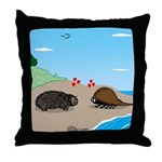 Porcupine Meets Horseshoe Crab Throw Pillow