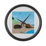 Porcupine Meets Horseshoe Crab Large Wall Clock