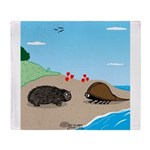 Porcupine Meets Horseshoe Crab Throw Blanket