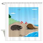 Porcupine Meets Horseshoe Crab Shower Curtain