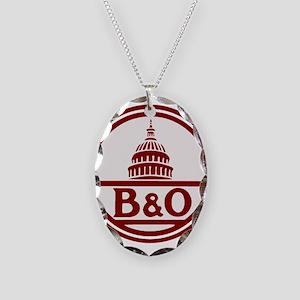 B&O railroad design Necklace Oval Charm
