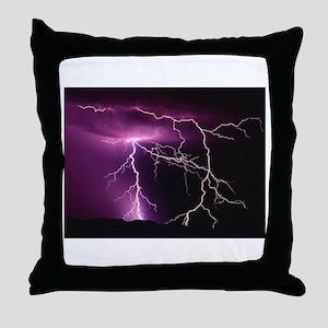 Purple Thunder Throw Pillow