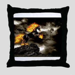 Burning Horse Throw Pillow